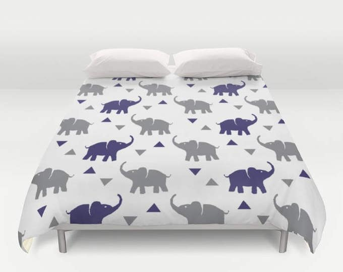 Duvet Cover or Comforter - Elephants & Triangles Print - Gray and Navy Blue - Twin XL Full Queen or King - Bedroom Bed - Kids Boys