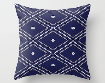 Throw Pillow - Navajo Pattern - Navy Blue White Tan - Square Cover with Insert - 16x16 18x18 20x20 24x24