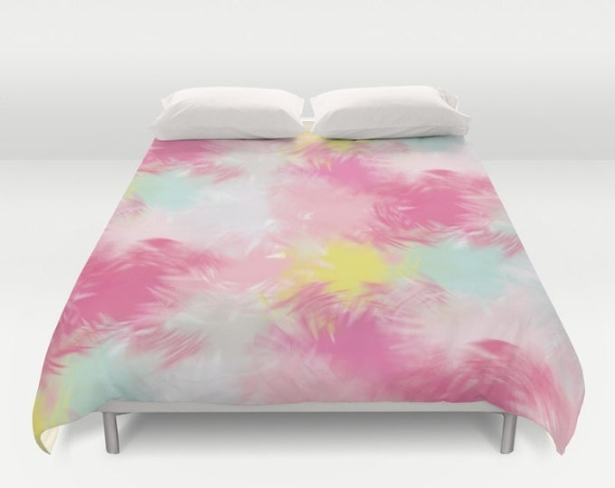 Duvet Cover or Comforter - Blurred Blend Pattern - Pink Yellow Mint Gray - Twin XL Full Queen or King - Bedroom Bed