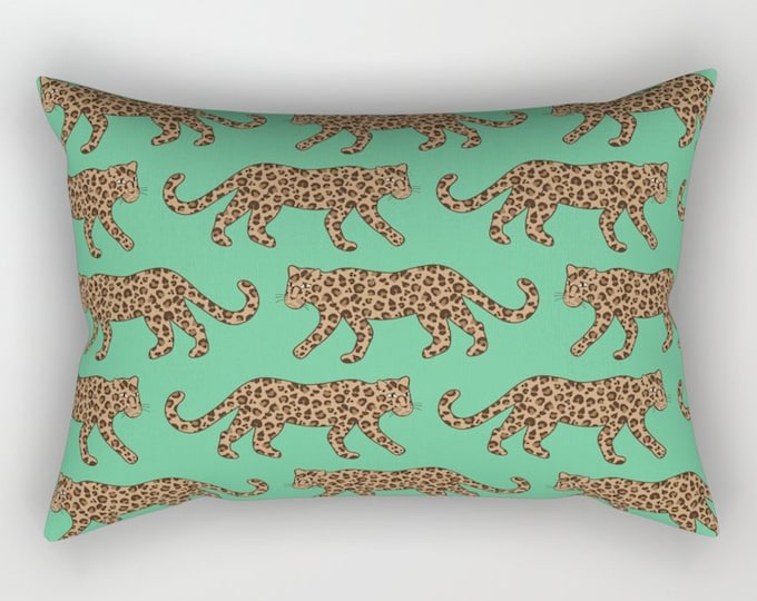 Lumbar Throw Pillow - Leopard Parade - Classic Brown Tan Camel Jungle Green - Rectangle Cover and Insert - 17x12 20x14 25.5x18 28x20