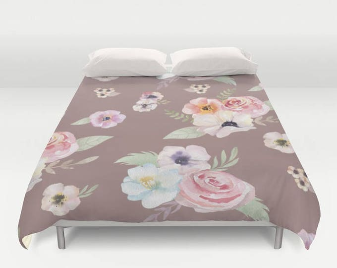Duvet Cover or Comforter - Watercolor Floral I - Cocoa Brown Pink - Twin XL Full Queen or King - Bedroom Bed