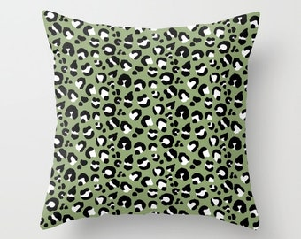 Throw Pillow - Leopard Spots - Olive Green Black White - Square Cover with Insert - 16x16 18x18 20x20 24x24