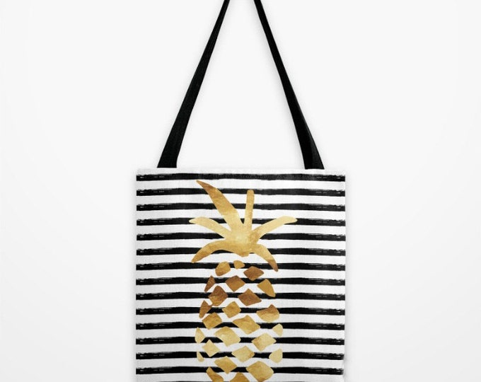 Canvas Tote Bag - Pineapple and Stripes - Gold Black and White - 3 Sizes Available - Beach Gym Grocery Weekend