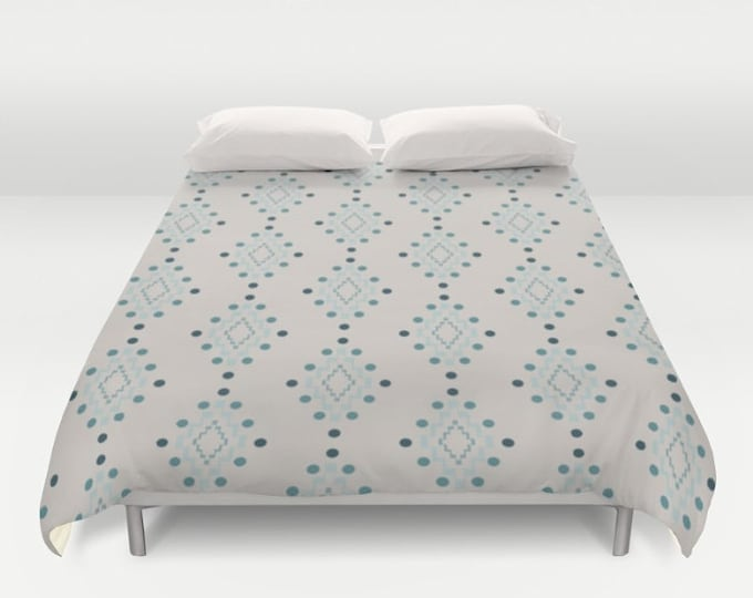 Duvet Cover or Comforter - Diamond Geometric Pattern - Beige Pink Blue Turquoise - Twin XL Full Queen or King - Bedroom Bed