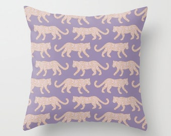 Throw Pillow - Leopard Parade - Blush Pink on Lavender Purple - Square Cover with Insert - 16x16 18x18 20x20 24x24