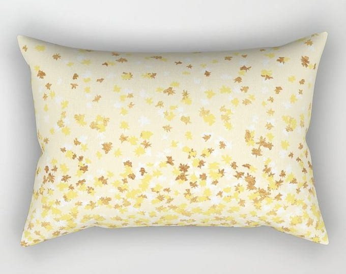 Lumbar Throw Pillow - Floating Confetti Dots - Yellow White Gold - Rectangle Cover and Insert - 17x12 20x14 25.5x18 28x20