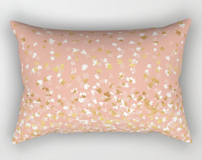 Lumbar Throw Pillow - Floating Confetti Dots - Peach White Gold - Rectangle Cover and Insert - 17x12 20x14 25.5x18 28x20