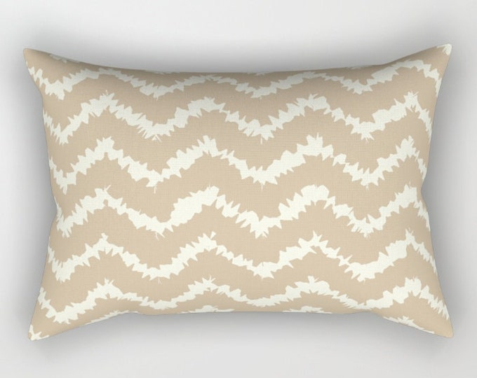 Lumbar Throw Pillow - Ragged Chevron Stripes - Gray Black Blush or Taupe - Rectangle Cover and Insert - 17x12 20x14 25.5x18 28x20