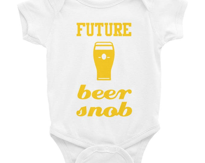 Future Beer Snob - Beer Glass Graphic - Funny Baby One Piece Bodysuit - Yellow Ink - Black Gray White or Pink