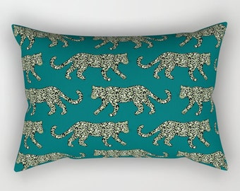 Lumbar Throw Pillow - Leopard Parade - Olive Green on Deep Teal Turquoise - Rectangle Cover and Insert - 17x12 20x14 25.5x18 28x20