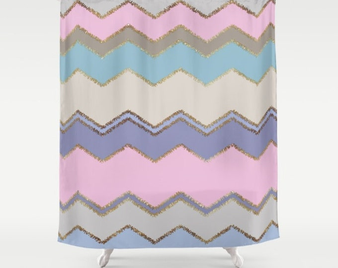 "Shower Curtain - Multi Chevron and Brushed Gold - Pink Purple Blue Beige - 71""x74"" - Bath Curtain Bathroom Decor Accessories"