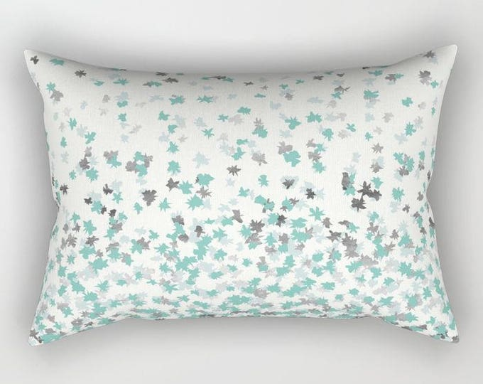 Lumbar Throw Pillow - Floating Confetti Dots - Mint Aqua Silver Cream White - Rectangle Cover and Insert - 17x12 20x14 25.5x18 28x20