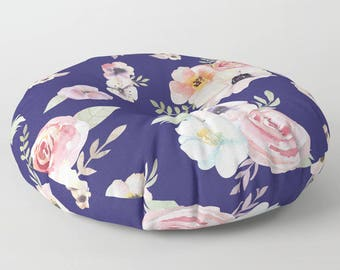 """Oversized Floor Pillow - Watercolor Floral I - Navy Blue Pink - Round or Square - 26"""" or 30"""" - Throw Poof Pouf Cushion"""