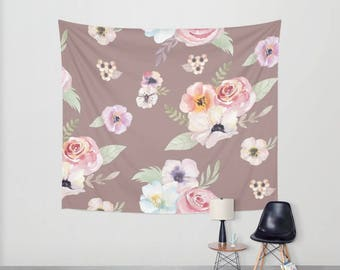 Wall Tapestry - Watercolor Floral I - Cocoa Brown Pink - Small Medium or Large - Bedroom Decor Accessories Dorm Nursery Playroom