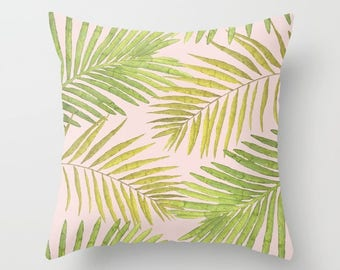 Throw Pillow - Palms Against Blush - Pink Green Yellow - Square Cover with Insert - 16x16 18x18 20x20 24x24