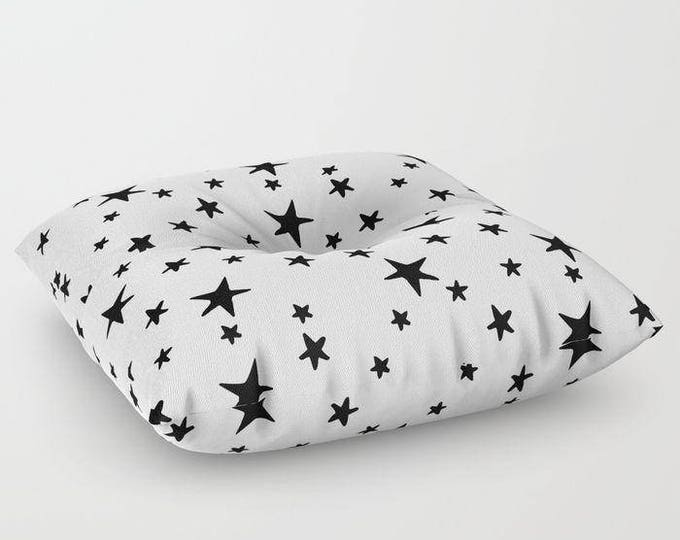 "Oversized Floor Pillow - Star Print - Black on White - Round or Square - 26"" or 30"" - Throw Poof Pouf Cushion"