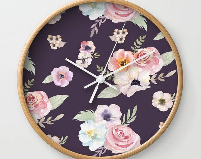 Wall Clock - Watercolor Floral I - Eggplant Purple Pink - Choose Frame & Hand Colors - Bedroom Decor Accessories Dorm Nursery Playroom
