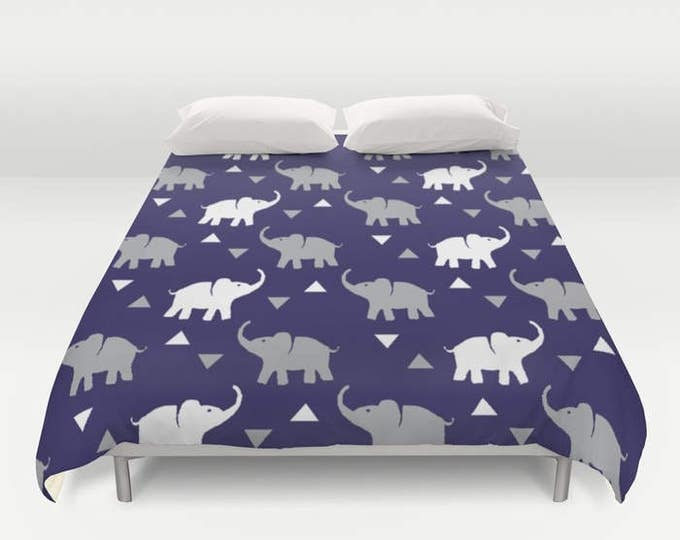 Duvet Cover or Comforter - Elephants & Triangles Print - Navy Blue Gray White - Twin XL Full Queen or King - Bedroom Bed - Kids Boys