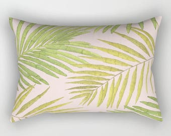 Lumbar Throw Pillow - Palms Against Blush - Pink Green Yellow - Rectangle Cover and Insert - 17x12 20x14 25.5x18 28x20