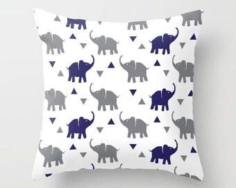Throw Pillow - Elephants & Triangles Print - Gray and Navy Blue - Square Cover with Insert - 16x16 18x18 20x20 24x24