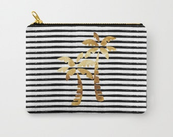 Zipper Pouch - Palm Trees and Stripes - Gold Black and White - 3 Sizes Available