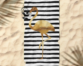 Oversized Beach Towel - Flamingo and Stripes - Gold Black and White - Bundle with a Tote and Pouch!