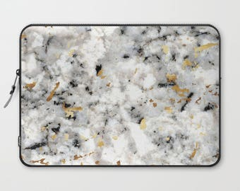 "Soft Laptop Case - Classic Marble with Gold Specks - Black White Gold - 13"" or 15"" - Zipper Sleeve Bag"