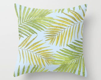 Throw Pillow - Palms Against the Sky - Green Yellow Light Blue - Square Cover with Insert - 16x16 18x18 20x20 24x24