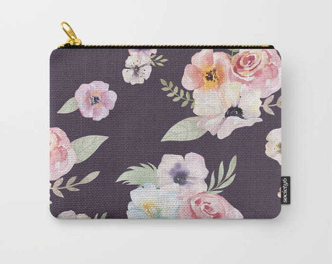 Zipper Pouch - Watercolor Floral I - Eggplant Purple Pink - 3 Sizes Available - Carry All Clutch Bag Cosmetic Case Makeup