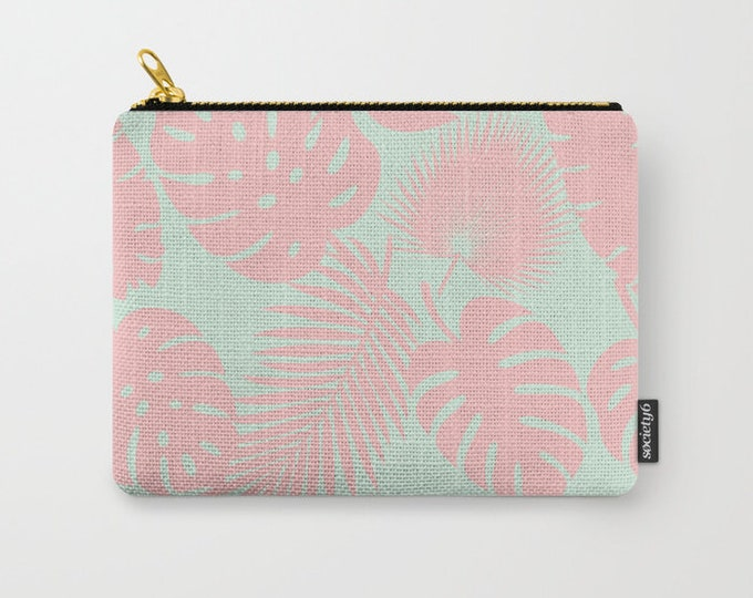 Zipper Pouch - Tropical Leaves - Blush on Aqua - 3 Sizes Available - Carry All Clutch Bag Cosmetic Case Makeup