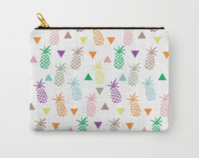 Zipper Pouch - Multi Colored Pineapple & Triangles Print - Rainbow Pastels - 3 Sizes Available