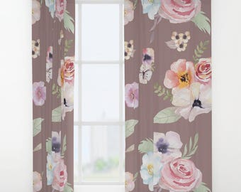 """Window Curtains - Watercolor Floral I - Cocoa Brown Pink - 50"""" x 84"""" - Rod Pocket - Bedroom Decor Accessories Kids Nursery Playroom"""