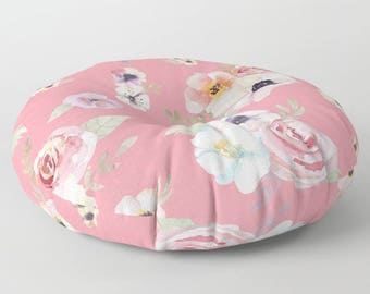 "Oversized Floor Pillow - Watercolor Floral I - Bright Pink - Round or Square - 26"" or 30"" - Throw Poof Pouf Cushion"