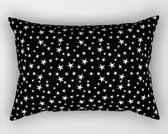 Lumbar Throw Pillow - Mini Star Print - White on Black - Rectangle Cover and Insert - 17x12 20x14 25.5x18 28x20