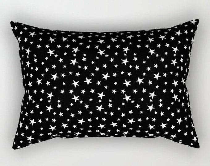 Lumbar Throw Pillow - Mini Star Print - White on Black - Rectangle Cover and Insert - 17x12 20x14 25.5x18 28x20