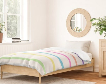 Duvet Cover or Comforter - Rainbow Stripes - White Blue Pink Green - Twin XL Full Queen King - Microfiber or 100% Cotton - Shams Optnl