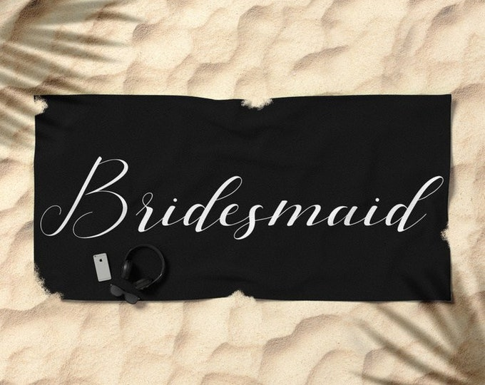 Oversized Beach Towel - Bridesmaid - White on Black - Bundle with a Tote and Pouch!