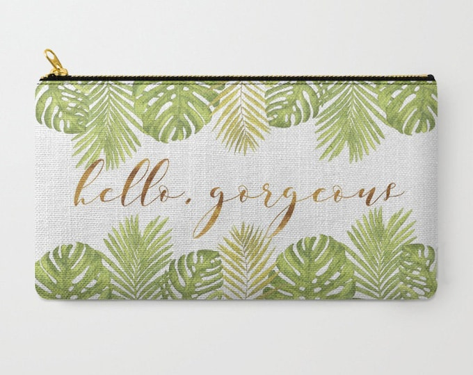 Zipper Pouch - Hello Gorgeous Palm Leaves - Green Gold White - 2 Sizes Available