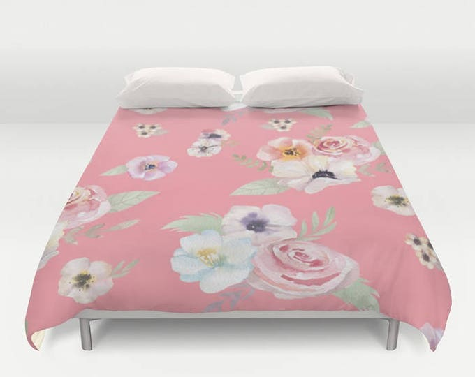 Duvet Cover or Comforter - Watercolor Floral I - Bright Pink - Twin XL Full Queen or King - Bedroom Bed