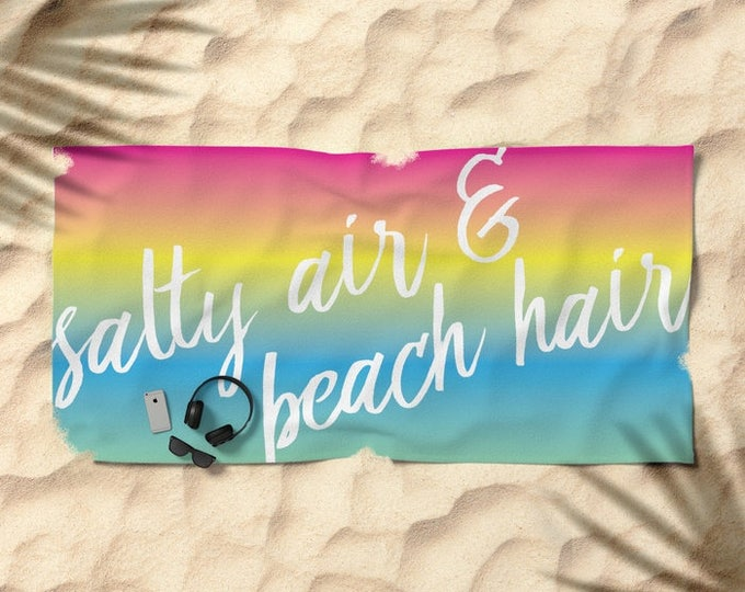 Oversized Beach Towel - Salty Air Beach Hair - Bright Rainbow Ombre - Pink Yellow Blue - OPTIONAL: Bundle it with a Matching Tote and Pouch!