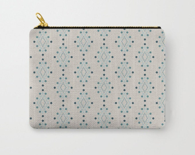 Zipper Pouch - Diamond Geometric Pattern - Beige Pink Blue Turquoise - 3 Sizes Available