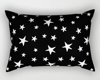 Lumbar Throw Pillow - Star Print - White on Black - Rectangle Cover and Insert - 17x12 20x14 25.5x18 28x20