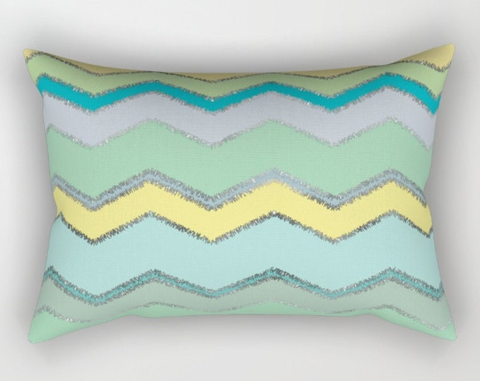 Lumbar Throw Pillow - Multi Chevron and Brushed Silver - Green Blue Yellow - Rectangle Cover and Insert - 17x12 20x14 25.5x18 28x20