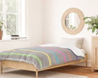 Duvet Cover or Comforter - Rainbow Stripes - Gray Blue Pink Green - Twin XL Full Queen King - Microfiber or 100% Cotton - Shams Optnl