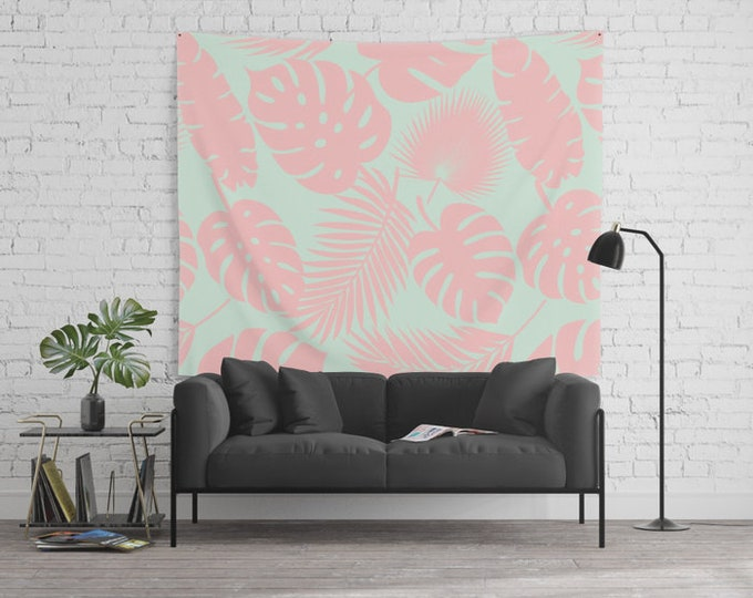 Wall Tapestry - Tropical Leaves - Blush on Aqua - Small Medium or Large - Bedroom Decor Accessories Dorm Nursery Playroom