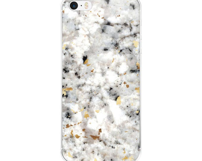 Classic Marble with Gold Specks - Black White - Phone Case - iPhone 6 6s 7 8 Plus X