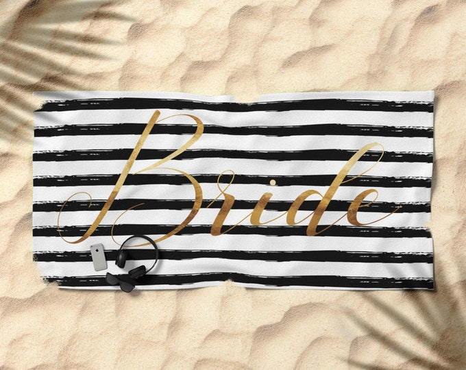 Oversized Beach Towel - Bride and Stripes - Gold Black and White - Bundle with a Tote and Pouch!