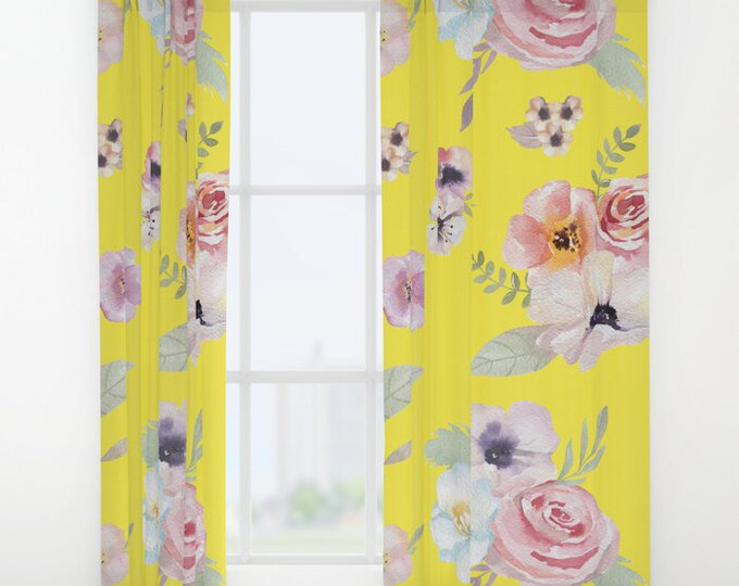 """Window Curtains - Watercolor Floral I - Bright Yellow Pink - 50"""" x 84"""" - Rod Pocket - Bedroom Decor Accessories Kids Nursery Playroom"""
