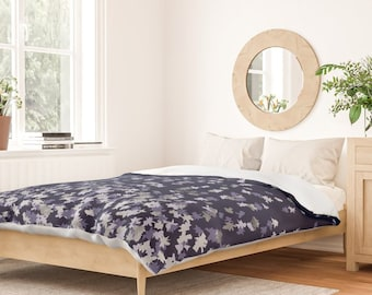Duvet Cover or Comforter - Floating Confetti Dots - Lavender Silver Navy - Twin XL Full Queen King - Microfiber or 100% Cotton - Shams Optl