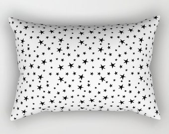 Lumbar Throw Pillow - Mini Star Print - Black on White - Rectangle Cover and Insert - 17x12 20x14 25.5x18 28x20